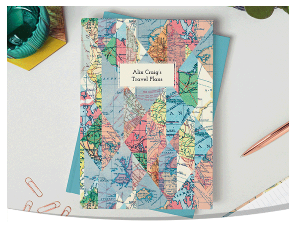 Above: Personalised notebook designs are able to be ordered via the app.