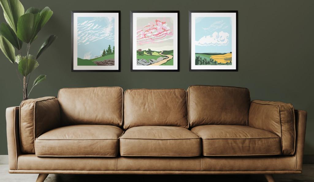 Above: A trio of Snowdon Flood prints shown in situ.