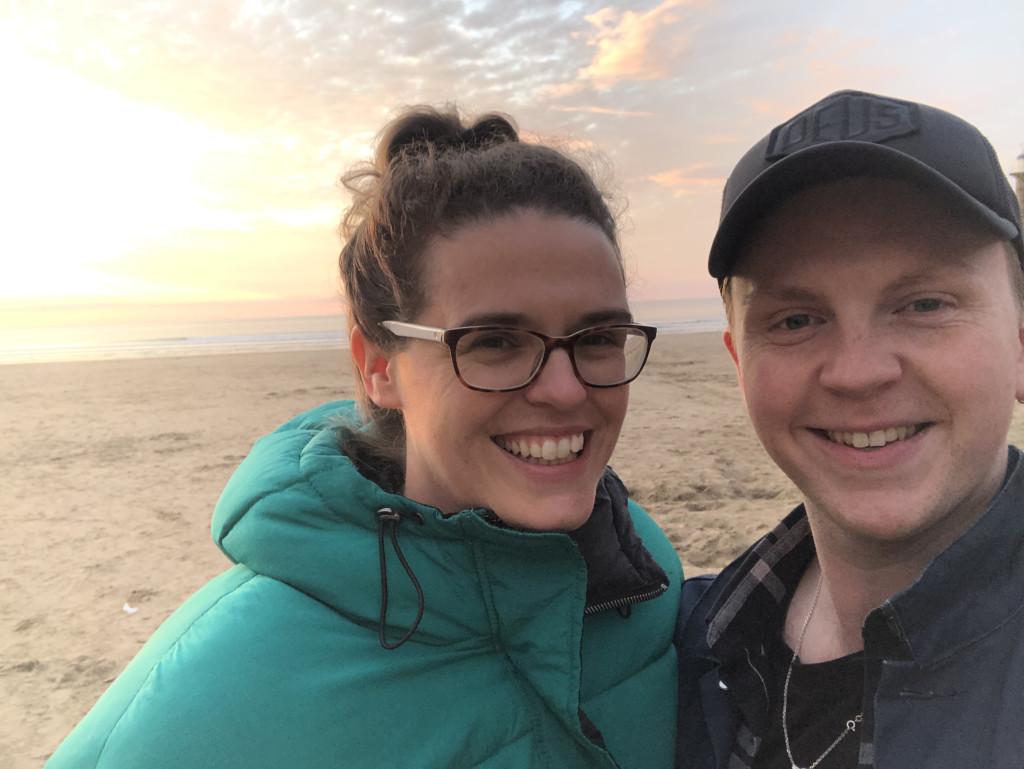 Above: A very happy Jessica Hogarth and Phil Hammill on the beach having heard the news.