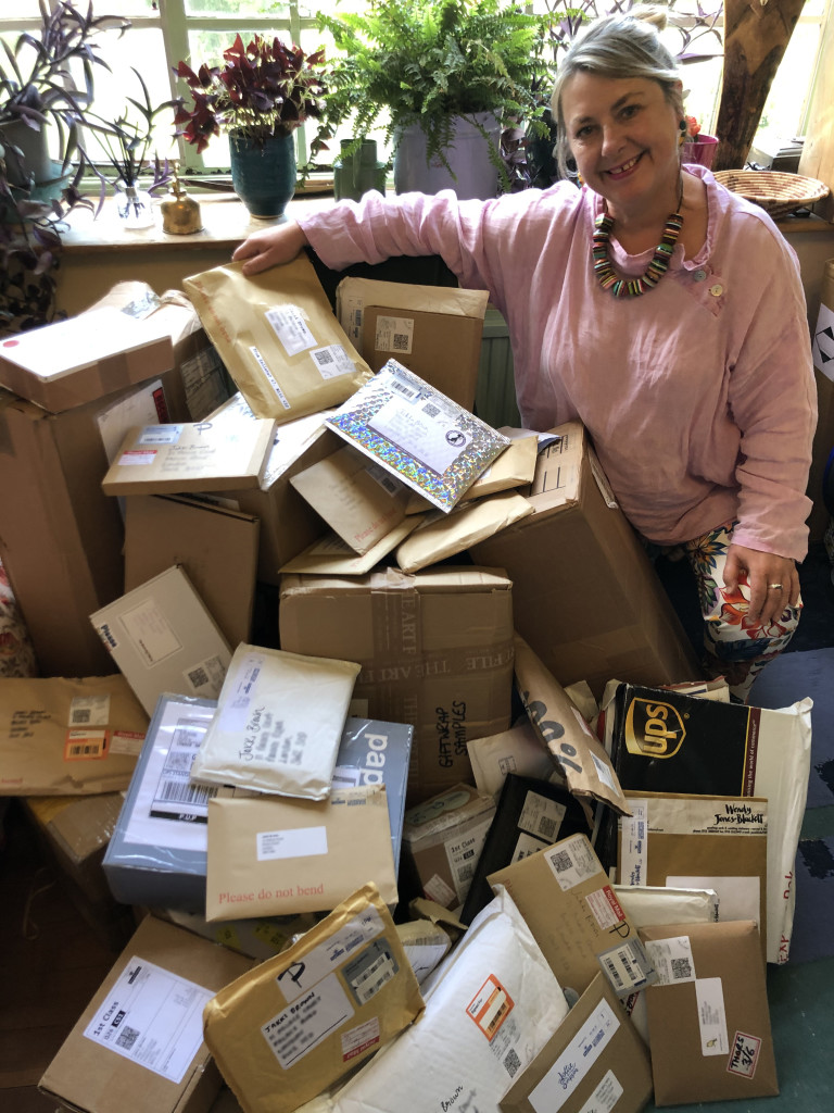 Above: PG Live's Jakki Brown with all the packages of cards for the dresses before they were delivered to costumier Sharon Harvey.