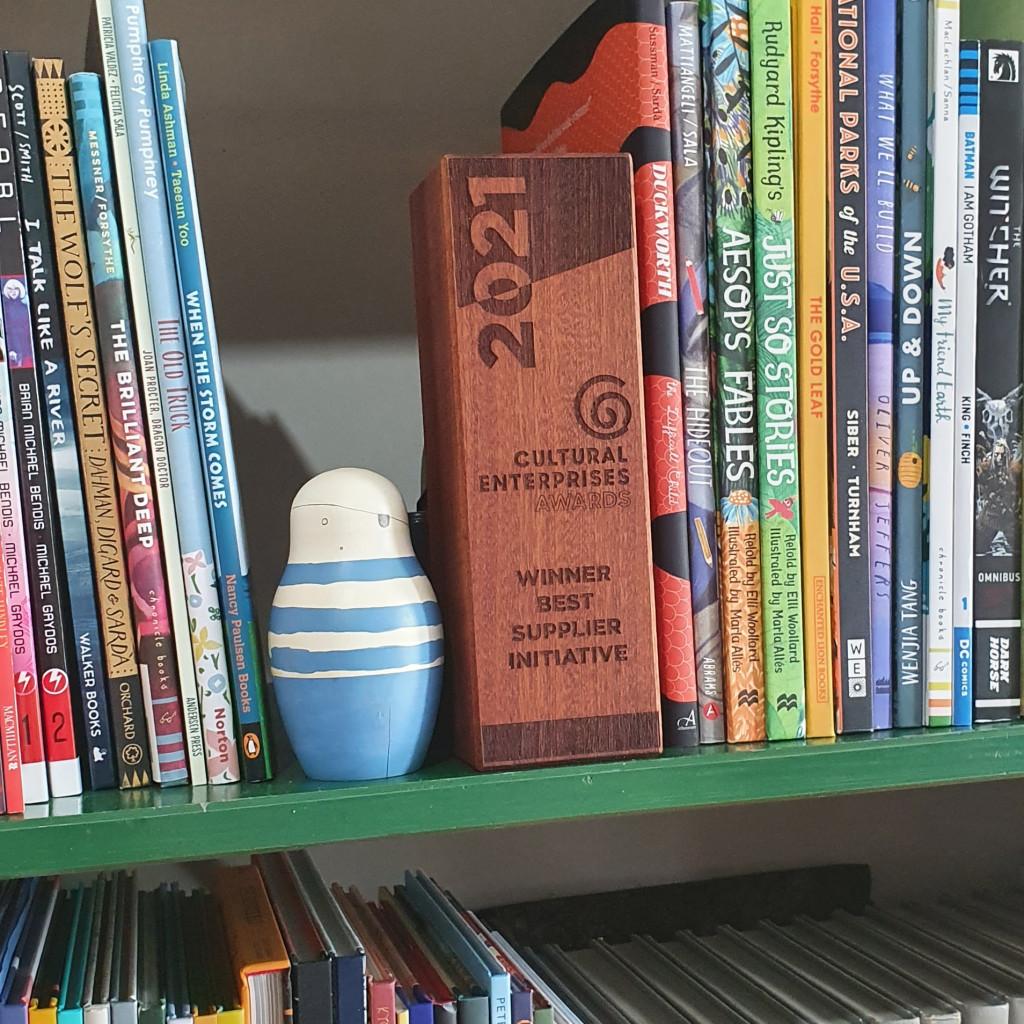 Above: The award trophy on Allister's bookshelf.