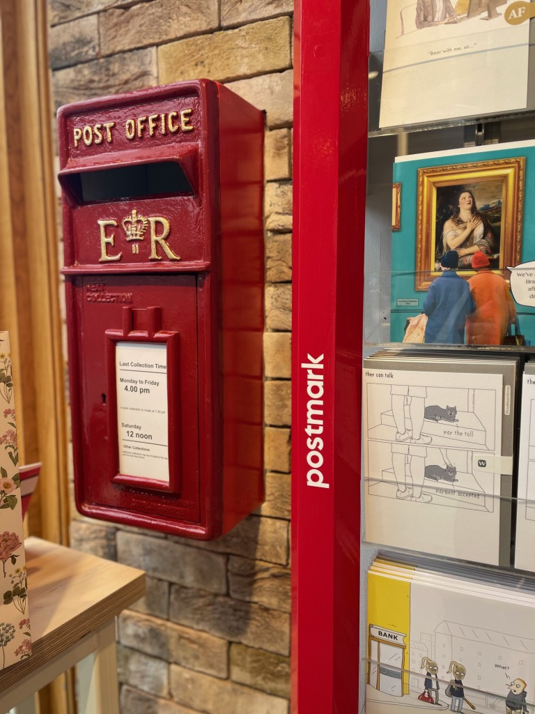 Above: Like other Postmark shops, customers can take advantage of being able to post items in the store.