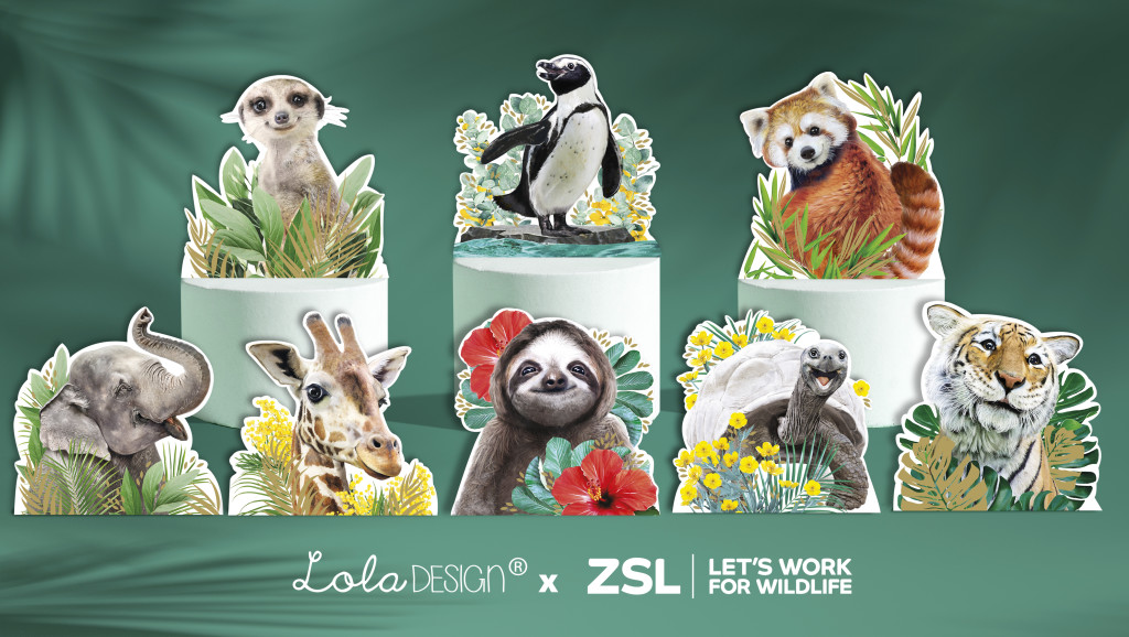 Above: Eight animals star in the inaugural Lola Design x ZSL card and stationery collection.