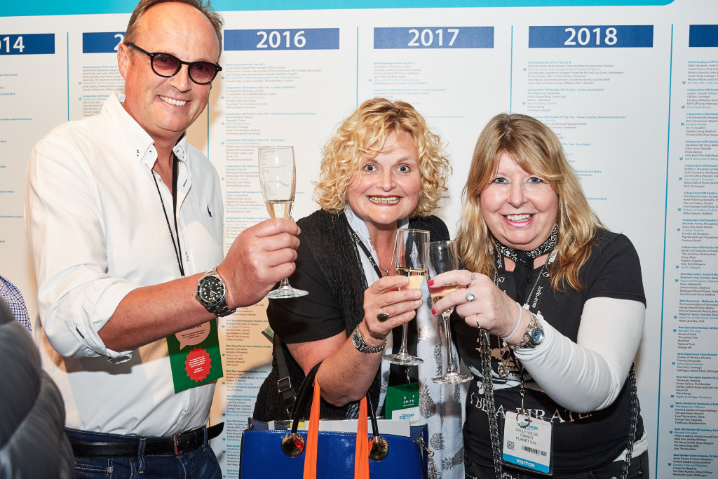 Above: Retailers Love It's Will and Amanda Oscroft and Sally Wilde (right) of Planet Sal toasting the success of PG Live 2021.
