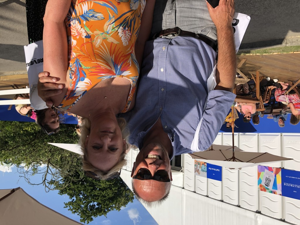 Above: Cardzone managing director Paul Taylor enjoyed a catch up in the sun at the end of the show with Karen Ebers, owner of Something Special in Edenbridge.