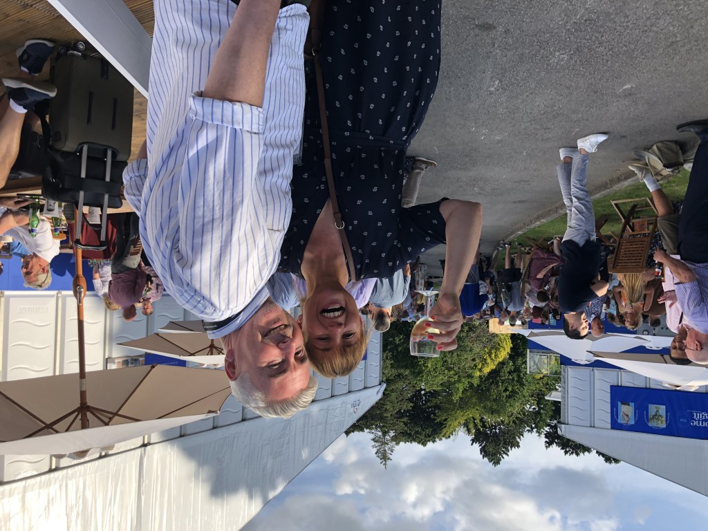 """Above: It was a resounding """"Cheers"""" from Coulson Macleod. """"We have had an amazing show – so great to see people,"""" said Hannah MacLeod enjoying a drink after the show with her partner (in life and business), Mark Coulson."""