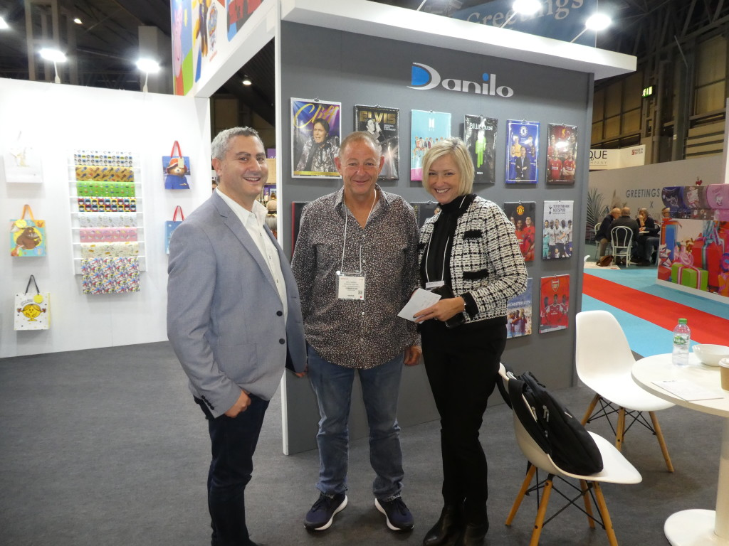 Above: Daniel Prince, managing director of Danilo with Angela Anderson, the company's sales director with Basil Shapiro, owner of South Africa's Shapiros at the Spring Fair.