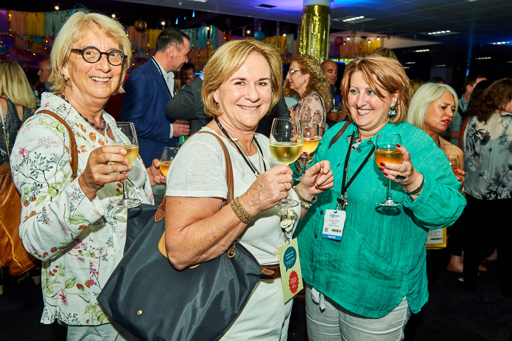 Above: Jenny Cummins (centre) with (left) Cath Tate, founder of Cath Tate Cards and agent Rosie Trow at the PG Live 2019 Opening Night party.