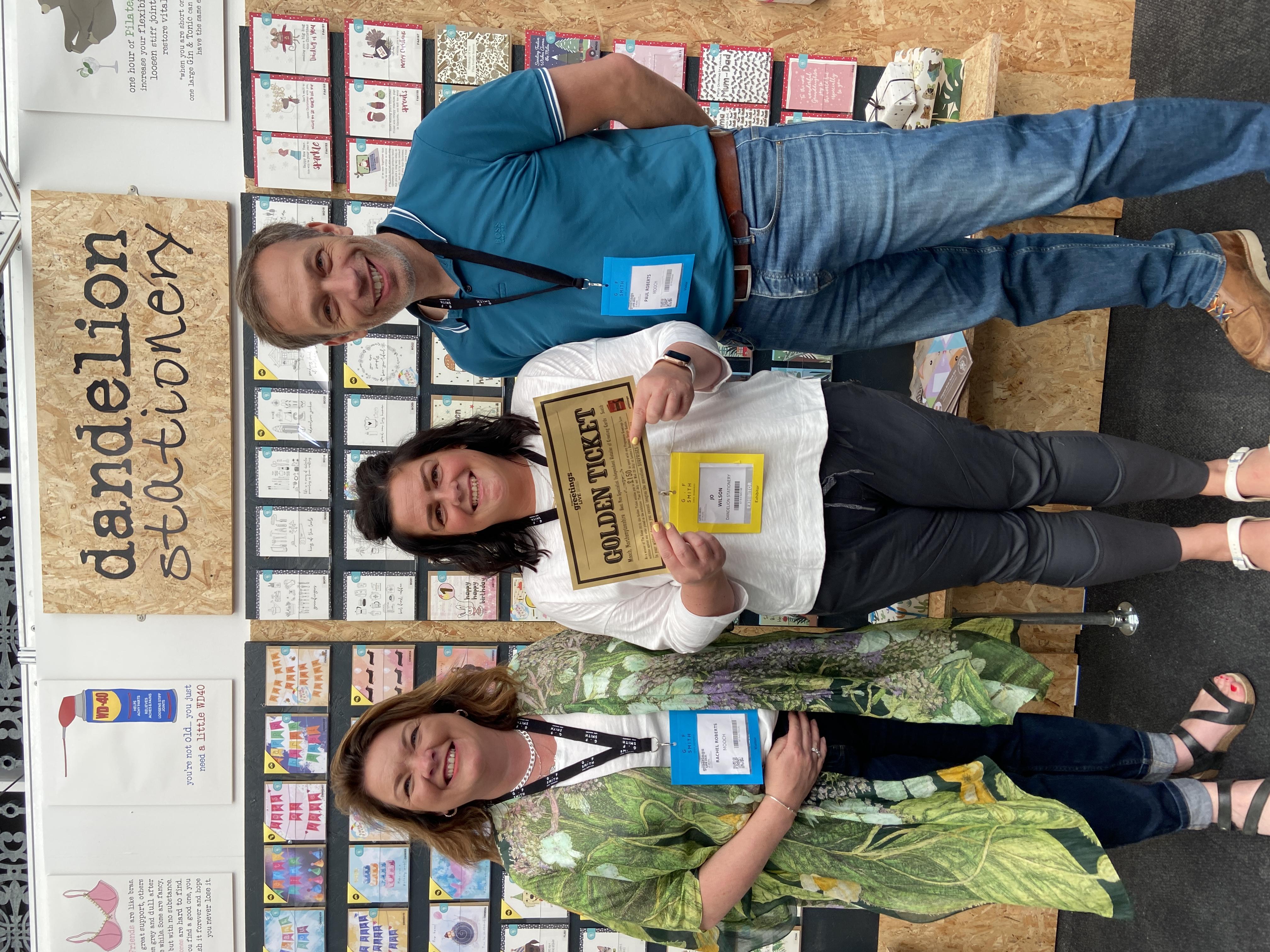 Above: Rachel (left) and Paul Roberts with Dandelion's Jo Wilson.