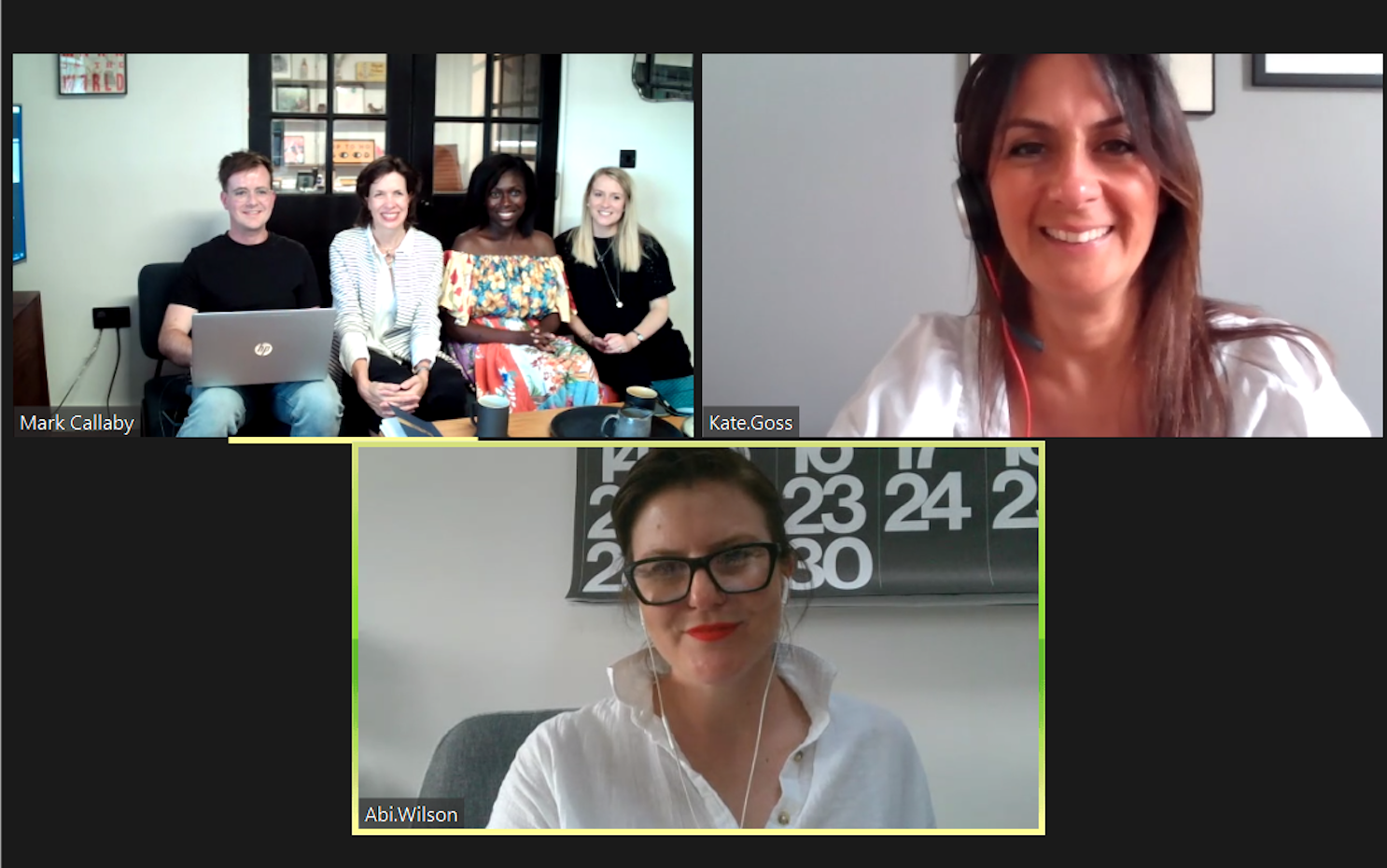 Above: Sainsbury's buyer manager Abi Wilson (bottom) and card and wrap buyer Kate Goss (right) joined the initial selection meeting via Zoom.