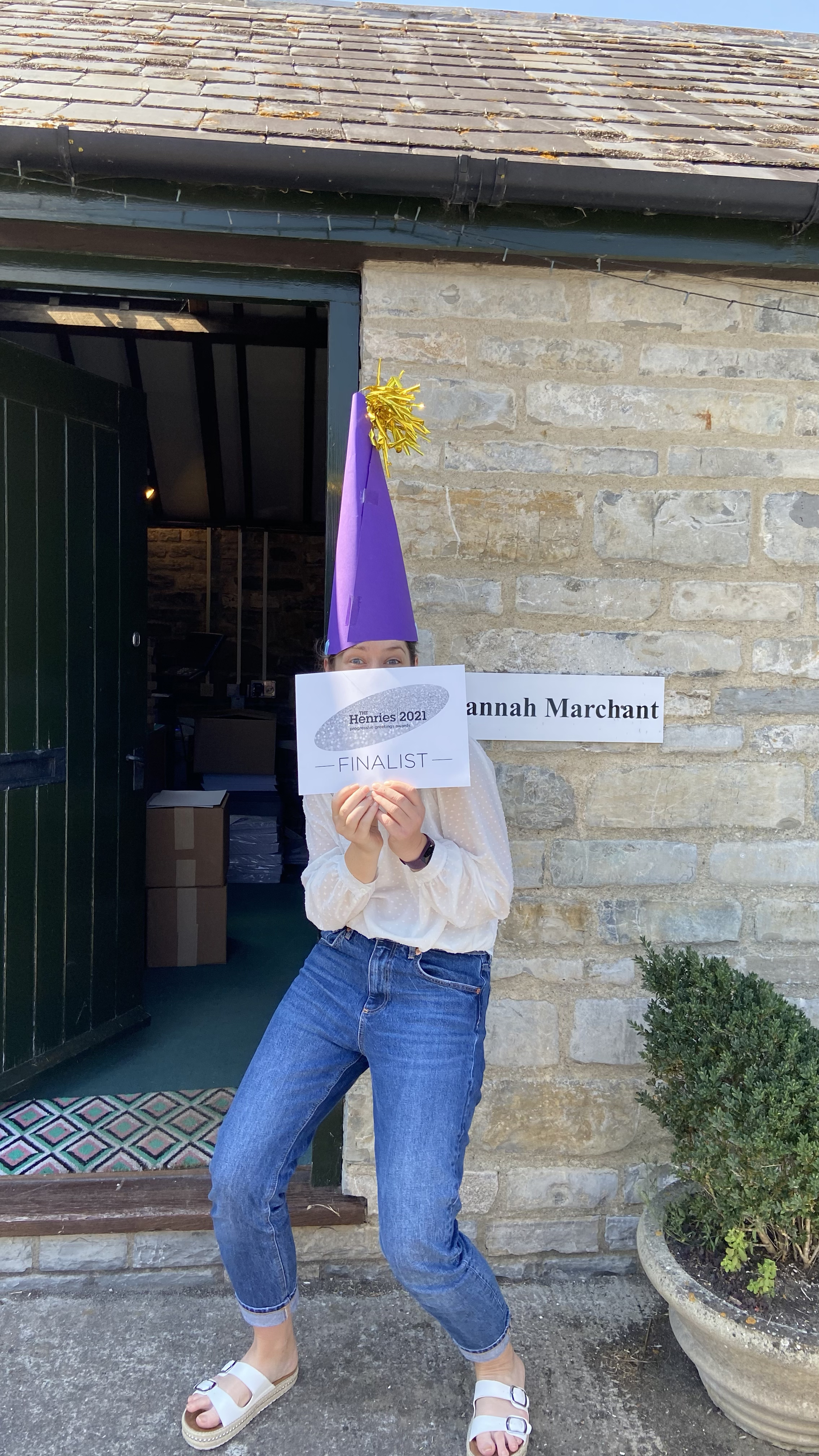 Above and top: Hannah Marchant fully deserves to wear a 'very clever person' hat.