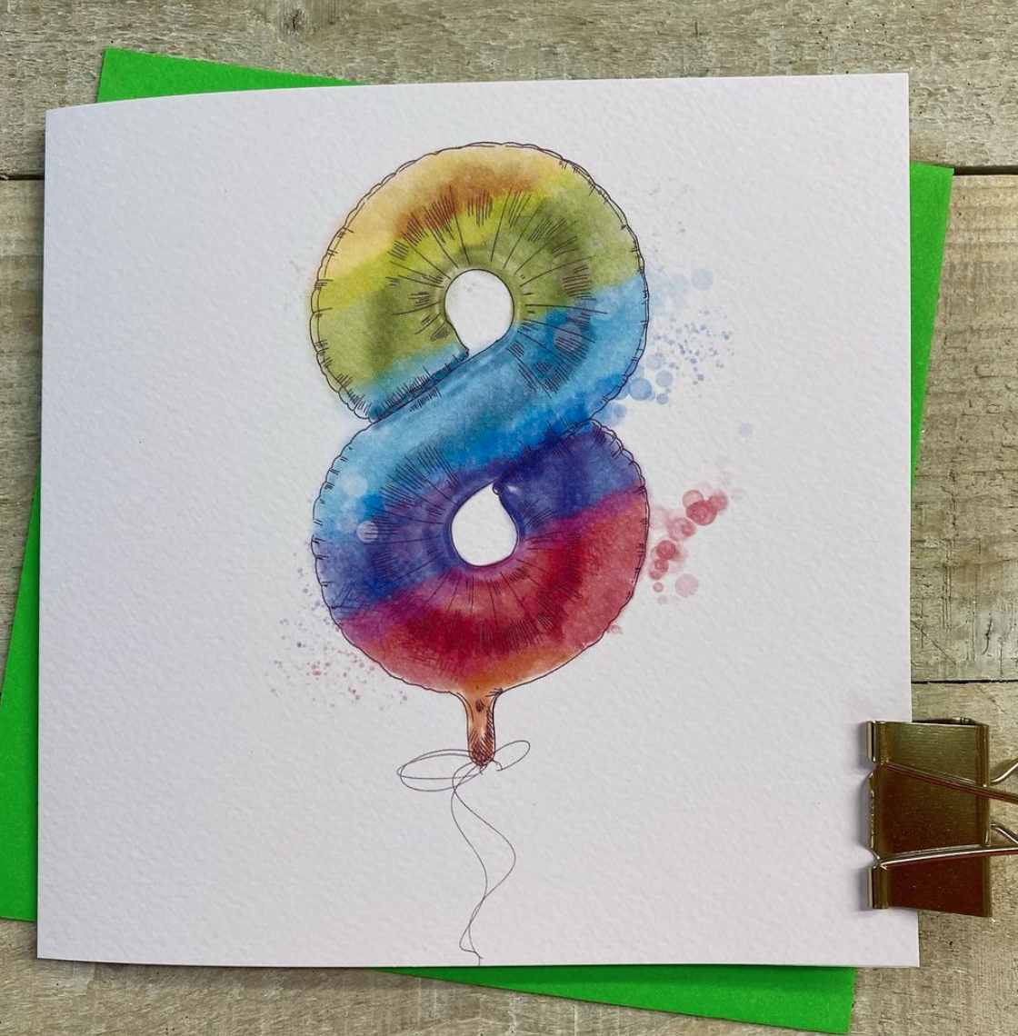 Above: An 'uplifting' design from White Cotton Cards' Rainbow Helium Balloons range.