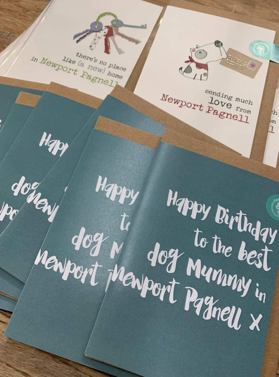 Above: Some Newport Pagnell-specific cards from Dandelion Stationery.