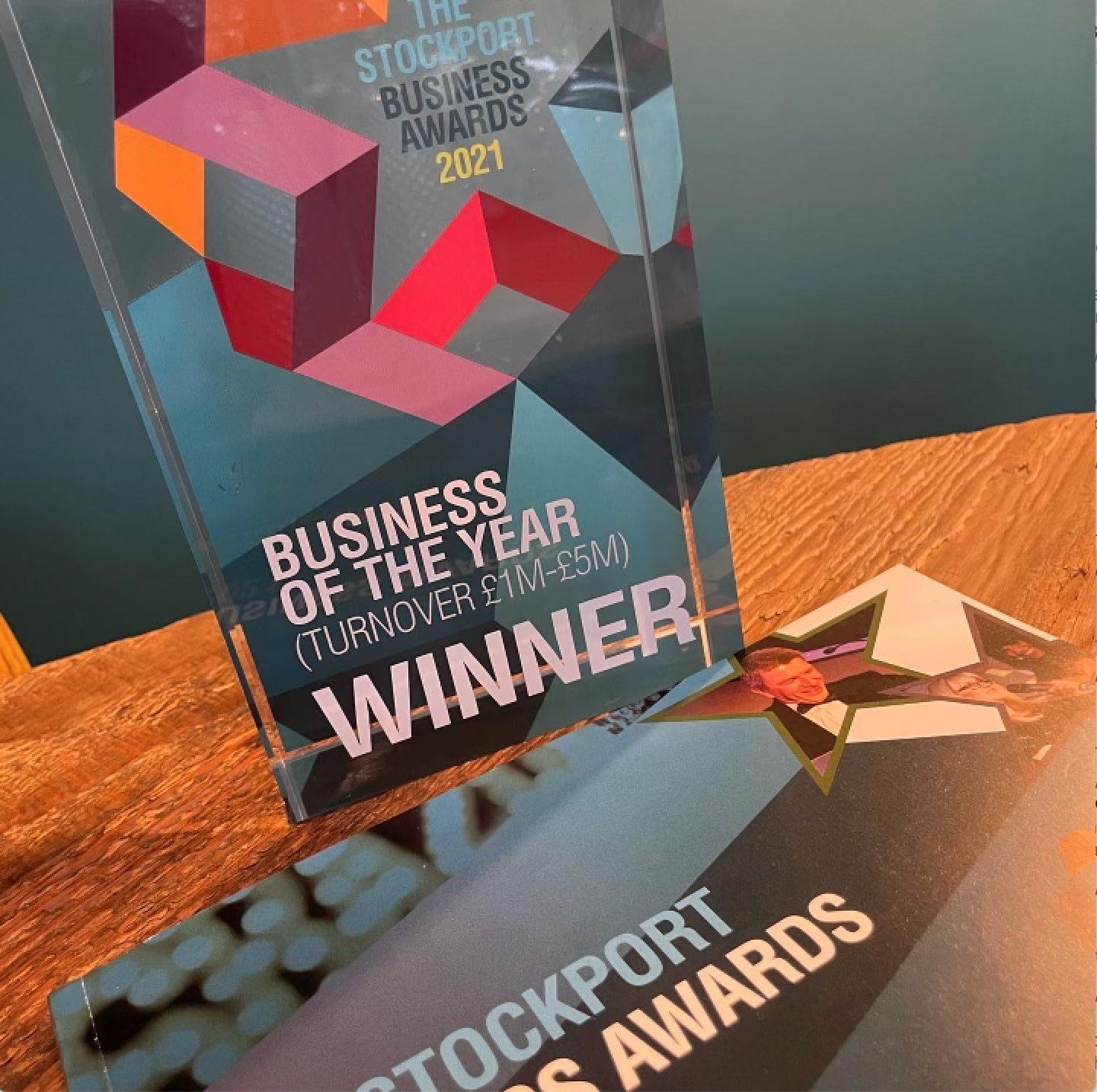 Above: The Stockport Business Awards trophy.