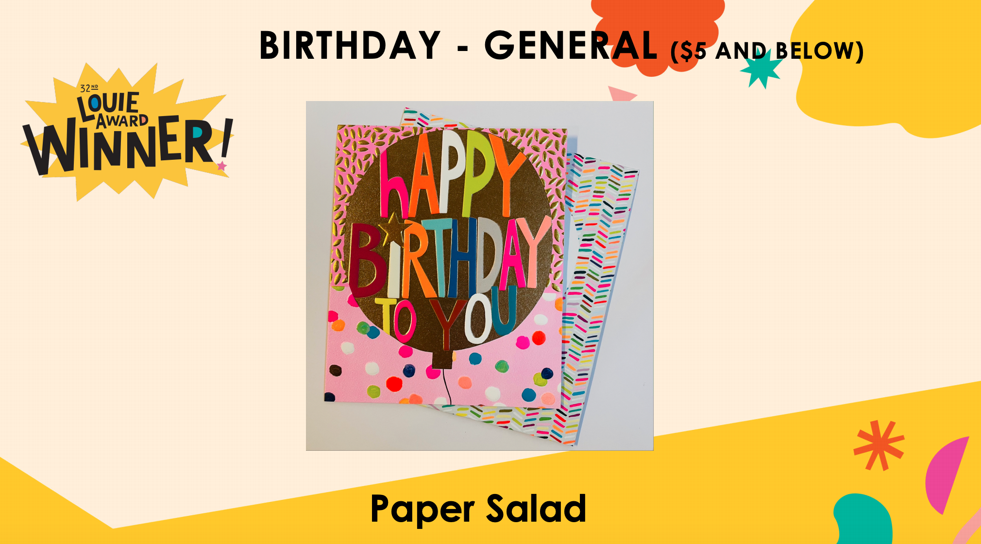 Above: Paper Salad's Hunky Dory card that won a Louie award in July.