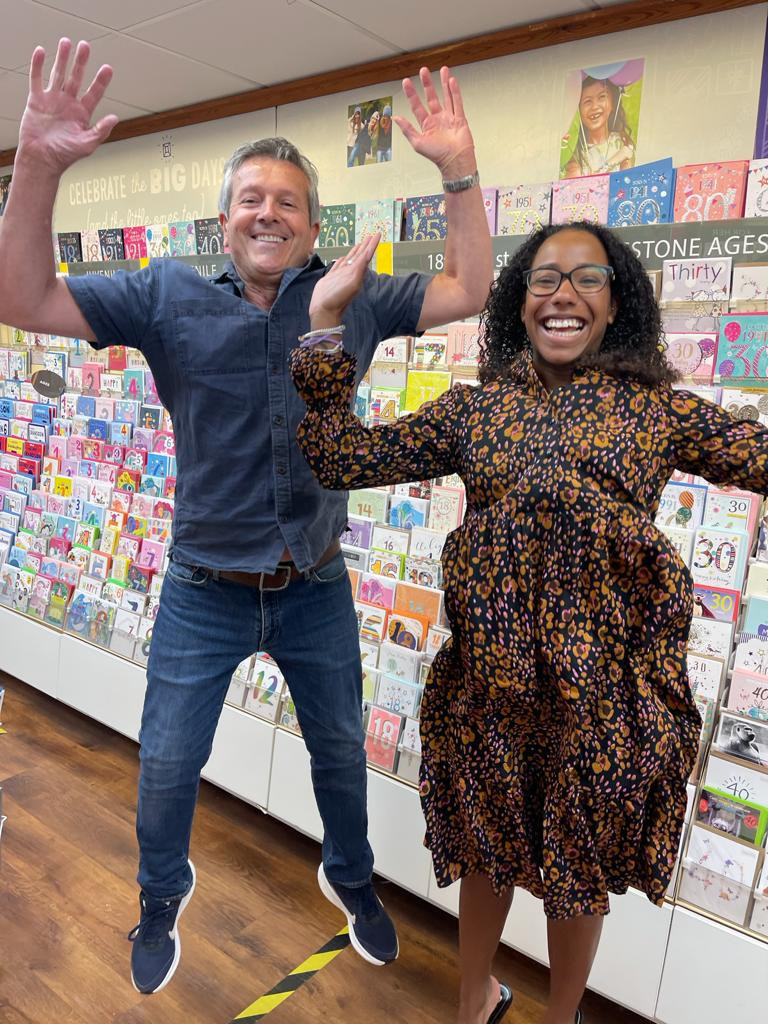 Above: Paul Mordecai and Hannah Rudder, co-owners of Dee's Cards in Leighton Buzzard jumping for joy when they found out they had reached the finals of The Retas back in May.